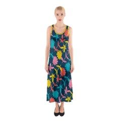 Colorful Floral Pattern Sleeveless Maxi Dress by DanaeStudio
