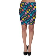 Colorful Floral Pattern Bodycon Skirt by DanaeStudio