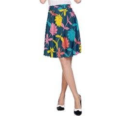 Colorful Floral Pattern A-line Skirt by DanaeStudio
