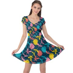 Colorful Floral Pattern Cap Sleeve Dress by DanaeStudio