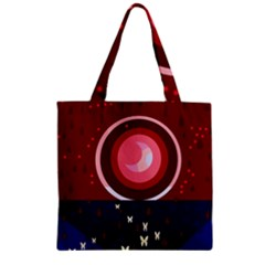 Techno  Zipper Grocery Tote Bag by Valentinaart