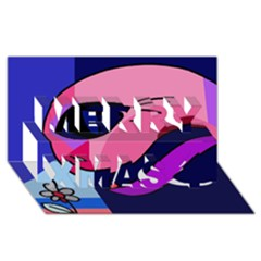 Strange Love Merry Xmas 3d Greeting Card (8x4) by Valentinaart