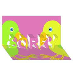 Parrots Sorry 3d Greeting Card (8x4) by Valentinaart