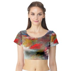 Abstract Reds And Beiges  Short Sleeve Crop Top (tight Fit)
