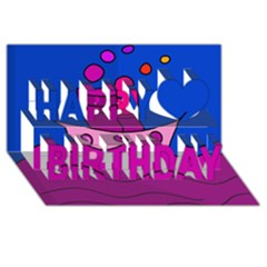 Boat Happy Birthday 3d Greeting Card (8x4) by Valentinaart