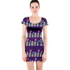 Cute Cactus Blossom Short Sleeve Bodycon Dress by DanaeStudio