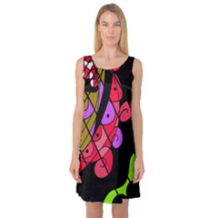 Elegant Abstract Decor Sleeveless Satin Nightdress by Valentinaart
