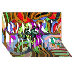 Colorful Goat Happy Birthday 3d Greeting Card (8x4)