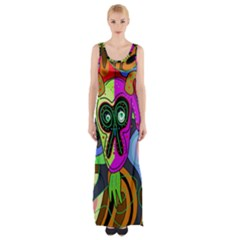 Colorful Goat Maxi Thigh Split Dress by Valentinaart
