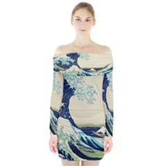 The Great Wave Long Sleeve Off Shoulder Dress by fashionnarwhal
