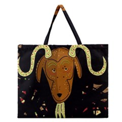 Billy Goat 2 Zipper Large Tote Bag by Valentinaart
