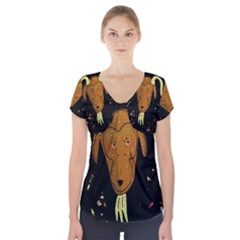 Billy Goat 2 Short Sleeve Front Detail Top by Valentinaart