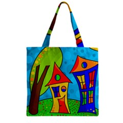Two Houses  Zipper Grocery Tote Bag by Valentinaart