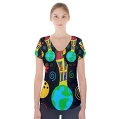 Playful Universe Short Sleeve Front Detail Top by Valentinaart