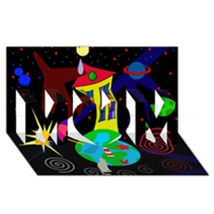 Colorful Universe Mom 3d Greeting Card (8x4) by Valentinaart