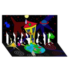 Colorful Universe Best Sis 3d Greeting Card (8x4) by Valentinaart