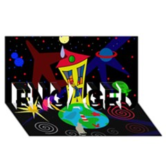 Colorful Universe Engaged 3d Greeting Card (8x4)