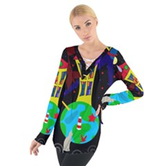 Colorful Universe Women s Tie Up Tee by Valentinaart