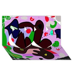 Decorative Abstraction Twin Hearts 3d Greeting Card (8x4) by Valentinaart