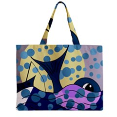 Whale Zipper Mini Tote Bag by Valentinaart