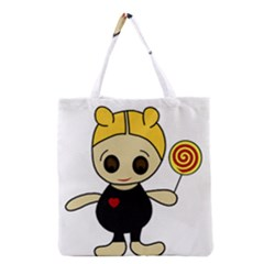 Cute Doll Girl Grocery Tote Bag by Valentinaart