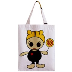Cute Doll Girl Zipper Classic Tote Bag by Valentinaart