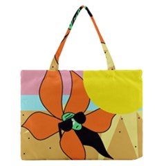 Sunflower On Sunbathing Medium Zipper Tote Bag by Valentinaart