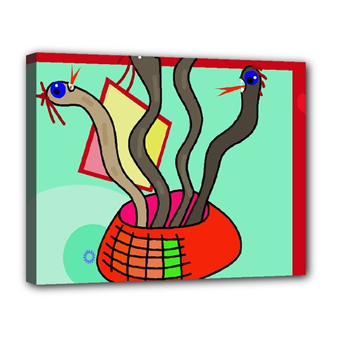 Dancing  Snakes Canvas 14  X 11  by Valentinaart
