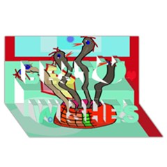 Dancing  Snakes Best Wish 3d Greeting Card (8x4)