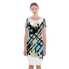 Abstract Decor   Blue Classic Short Sleeve Midi Dress by Valentinaart