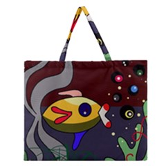 Fish Zipper Large Tote Bag by Valentinaart
