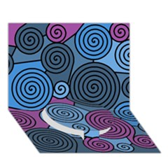 Blue Hypnoses Circle Bottom 3d Greeting Card (7x5)