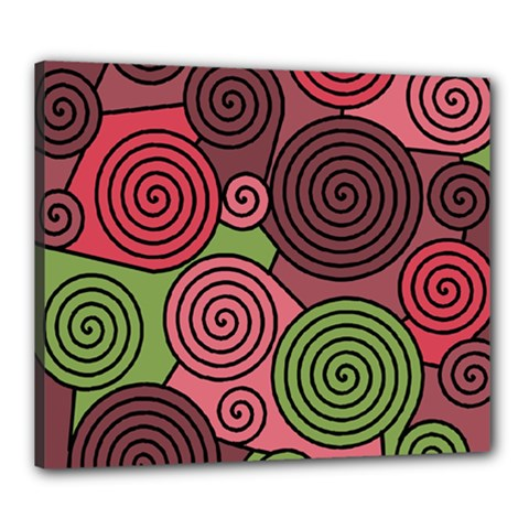 Red And Green Hypnoses Canvas 24  X 20  by Valentinaart