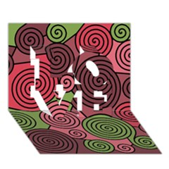 Red And Green Hypnoses Love 3d Greeting Card (7x5) by Valentinaart