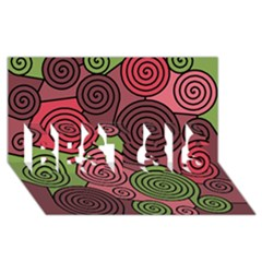 Red And Green Hypnoses Best Sis 3d Greeting Card (8x4) by Valentinaart