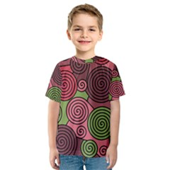 Red And Green Hypnoses Kid s Sport Mesh Tee by Valentinaart