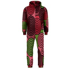 Red And Green Hypnoses Hooded Jumpsuit (men)  by Valentinaart
