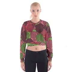 Red And Green Hypnoses Women s Cropped Sweatshirt by Valentinaart