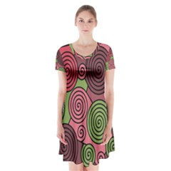 Red And Green Hypnoses Short Sleeve V Neck Flare Dress by Valentinaart