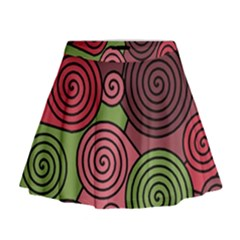 Red And Green Hypnoses Mini Flare Skirt by Valentinaart