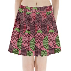 Red And Green Hypnoses Pleated Mini Skirt by Valentinaart