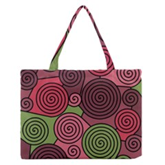 Red And Green Hypnoses Medium Zipper Tote Bag by Valentinaart