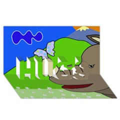 Butterfly And Rhino Hugs 3d Greeting Card (8x4) by Valentinaart