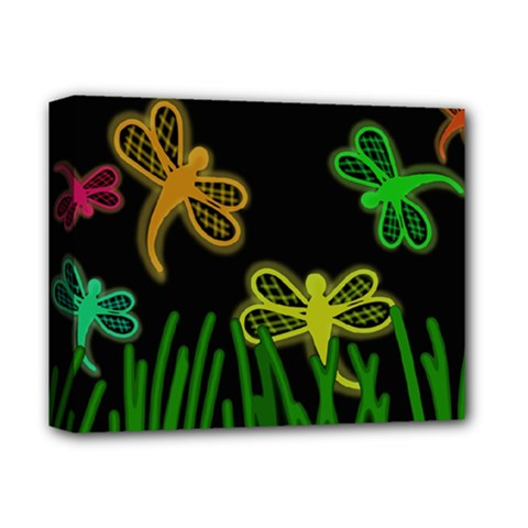 Neon Dragonflies Deluxe Canvas 14  X 11  by Valentinaart