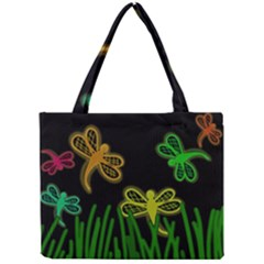 Neon Dragonflies Mini Tote Bag by Valentinaart