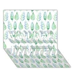 Green Watercolour Leaves Pattern You Are Invited 3d Greeting Card (7x5) by TanyaDraws