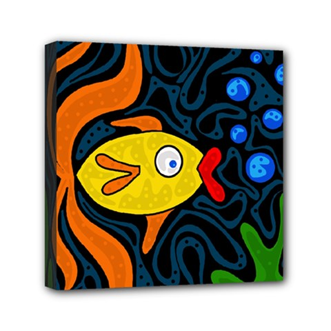 Yellow Fish Mini Canvas 6  X 6  by Valentinaart
