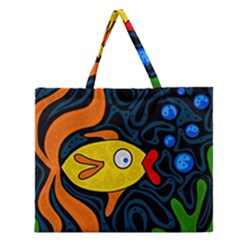 Yellow Fish Zipper Large Tote Bag by Valentinaart