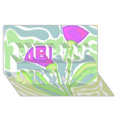 Purple Flowers Merry Xmas 3d Greeting Card (8x4) by Valentinaart