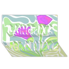 Purple Flowers Congrats Graduate 3d Greeting Card (8x4) by Valentinaart